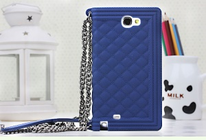Dark Blue Silicon Phone Case for Samsung Galaxy Note II N7100 Grid Pattern