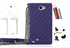 Purple Grid Pattern Flex Silicone Phone Shell for Samsung Galaxy Note II N7100