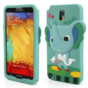 For Samsung Galaxy Note 3 N9005 Cartoon Elephant Lady Silicone Skin Case - Cyan