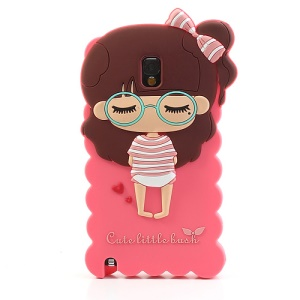 Hot Pink Cute Girl Silicone Gel Case for Samsung Galaxy Note 3 N9000 N9005 N9002