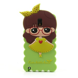 Green Cute Girl Soft Jelly Silicone Case for Samsung Galaxy Note 3 N9000 N9005 N9002