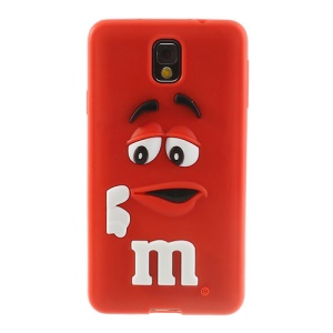 PIZU M&M Bean Candy Smell Soft Silicone Case for Samsung Galaxy Note 3 N9005 N9000 - Red
