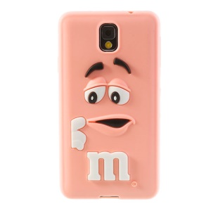 PIZU M&M Bean Candy Smell for Samsung Galaxy Note 3 N9005 N9002 Silicone Back Cover - Pink