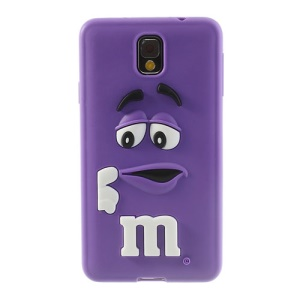 PIZU for Samsung Galaxy Note 3 N9005 N9000 M&M Bean Candy Smell Silicone Shell Cover - Purple