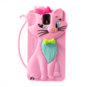 Pink for Samsung Galaxy Note 3 N9005 Bow Tie Love Cat Silicone Case