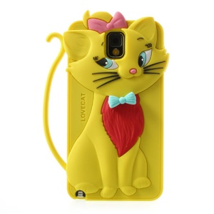 Yellow for Samsung Galaxy Note 3 N9005 Bow Tie Love Cat Silicone Cover