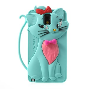 Cyan for Samsung Galaxy Note 3 N9005 Bow Tie Love Cat Silicone Cover