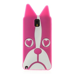 Rose 3D Heart-shaped Eyes Dog Silicone Case for Samsung Galaxy Note 3 N9005