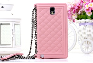 Pink for Samsung Galaxy Note 3 N9000 Grid Pattern Silicone Gel Shell Cover