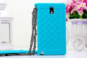 Baby Blue Silicon Protective Shell for Samsung Galaxy Note 3 N9002 Grid Pattern