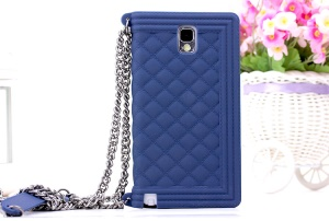 Dark Blue Silicon Protective Cover for Samsung Galaxy Note 3 N9000 Grid Pattern