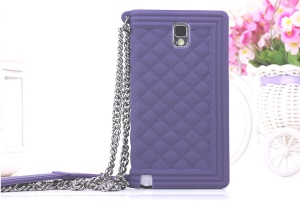 Purple Grid Pattern Flex Silicone Case Cover for Samsung Galaxy Note 3 N9005 N9002
