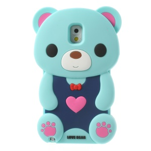 Light Blue for Samsung Galaxy Note 3 N9002 N9000 Cute 3D Love Bear Soft Silicone Cover