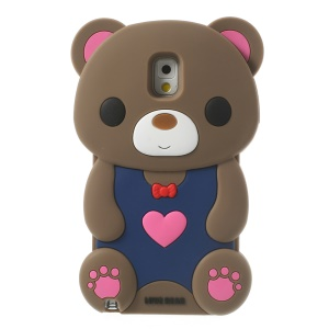 Brown for Samsung Galaxy Note 3 N9000 N9005 Cute 3D Love Bear Soft Silicone Cover