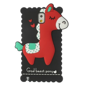 Black for Samsung Galaxy Note 3 N9005 3D God Beast Pony Silicone Cover