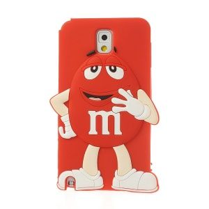 Red Cute Happy M&Ms Chocolate Bean Soft Silicone Case for Samsung Galaxy Note 3 N9005 N9002 N9000
