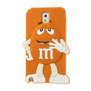 Orange Cute Happy M&Ms Chocolate Bean Silicone Cover for Samsung Galaxy Note 3 N9005