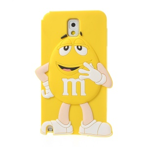 Yellow Cute Happy M&Ms Chocolate Bean Silicone Cover for Samsung Galaxy Note 3 N9002