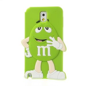 Green for Samsung Galaxy Note 3 N9000 Cute Happy M&Ms Chocolate Bean Silicone Shell