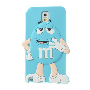 Blue for Samsung Galaxy Note 3 N9000 N9002 Cute Happy M&Ms Chocolate Bean Silicone Shell