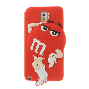 Red for Samsung Galaxy Note 3 N9002 N9005 N9000 Cute Ms. Green M&Ms Bean Design Soft Silicone Case
