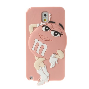 Pink for Samsung Galaxy Note 3 N9005 Cute Beauty M&Ms Bean Soft Silicone Cover
