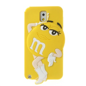 Yellow for Samsung Galaxy Note 3 N9005 N9000 Cute Sexy Female M&Ms Bean Soft Silicone Cover
