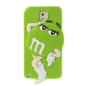 Green for Samsung Galaxy Note 3 N9005 N9002 Cute Ms. Green M&Ms Bean Soft Silicone Shell