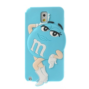 Blue for Samsung Galaxy Note 3 N9005 N9002 Cute Ms. Green M&Ms Bean Soft Silicone Case