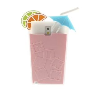 Pink 3D Cocktail Beverage Cup Soft Silicone Case for Samsung Galaxy Note 3 N9005