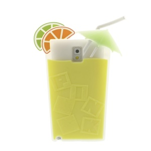Yellow 3D Cocktail Beverage Cup Soft Silicone Cover for Samsung Galaxy Note 3 N9002