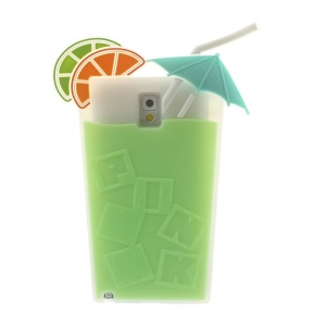Green for Samsung Galaxy Note 3 N9002 3D Cocktail Beverage Cup Soft Silicone Cover
