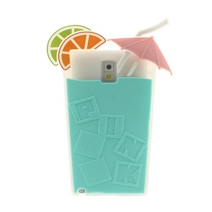 Cyan for Samsung Galaxy Note 3 N9000 3D Cocktail Beverage Cup Soft Silicone Shell