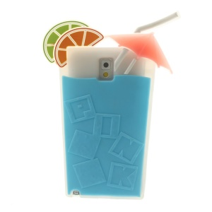 Blue for Samsung Galaxy Note 3 N9000 3D Cocktail Beverage Cup Soft Silicone Shell