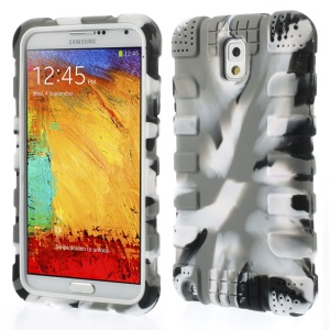 Anti-slip Silicone Shell Case for Samsung Galaxy Note 3 N9000 - Camo Light Grey