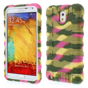 For Samsung Galaxy Note 3 N9000 Anti-slip Silicone Case Protector - Camo Rose