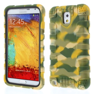 For Samsung Galaxy Note 3 N9002 Anti-slip Soft Silicone Case Cover - Camo Yellow