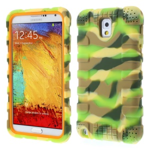 For Samsung Galaxy Note 3 N9002 Anti-slip Soft Silicone Cover - Camo Grass Green