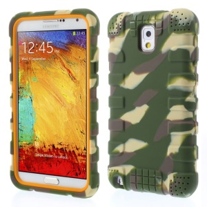 For Samsung Galaxy Note 3 N9002 Anti-slip Silicone Phone Cover - Camo Green