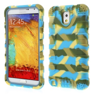 For Samsung Galaxy Note 3 N9002 Anti-slip Silicone Protective Cover - Camo Blue