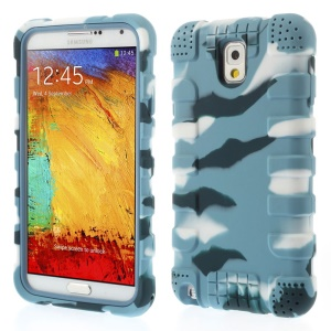 For Samsung Galaxy Note 3 N9005 Anti-slip Soft Silicone Shell - Camo Light Blue