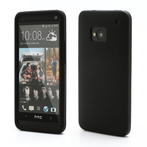 Rubberized Flexible Silicone Case Cover for HTC One M7 801e - Black