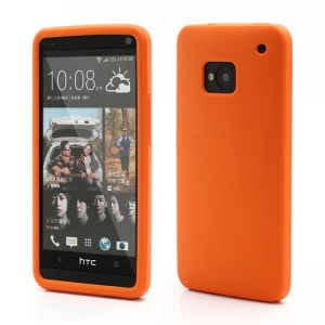 Rubberized Flexible Soft Silicone Case Shield for HTC One M7 801e - Orange