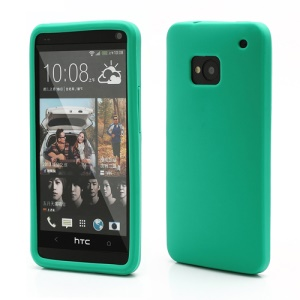 Rubberized Flexible Silicone Jelly Case Shell for HTC One M7 801e - Green