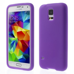 Purple Rubberized Soft Silicone Shell for Samsung Galaxy S5 G900 GS 5