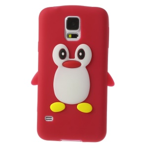 Adorable Penguin Silicone Skin Cover for Samsung Galaxy S5 G900 GS 5 - Red