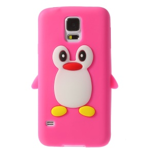 Adorable Penguin Silicone Shell Case for Samsung Galaxy S5 G900 GS 5 - Rose
