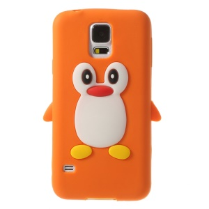 Adorable Penguin Silicone Case Accessory for Samsung Galaxy S5 G900 GS 5 - Orange