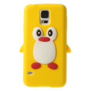 Adorable Penguin Silicone Protective Case for Samsung Galaxy S5 G900 GS 5 - Yellow