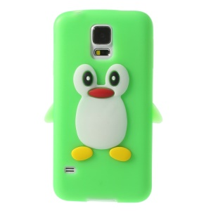 Adorable Penguin Soft Silicone Cover for Samsung Galaxy S5 G900 GS 5 - Green